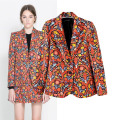 New Fashion Retro Cashews Prints Blazer Jacket Womens Prints Casual Blazer Outwear 2220