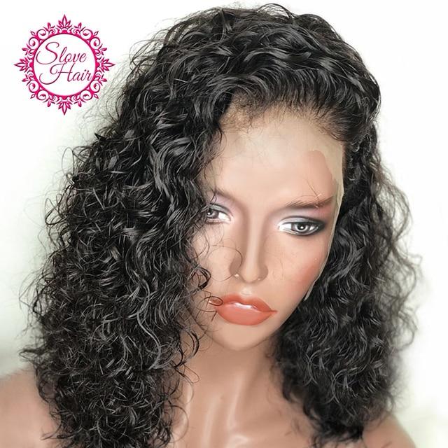 Pelucas de pelo humano de encaje corto rizado Bob peluca para mujeres Color negro Remy peluca Frontal brasileña desplumada con completo incluso final resolver