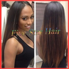 Free shipping full lace wig ombre  #1b/#4 long silky straight Human hair Brazilian full lace virgin hair wigs with baby hair