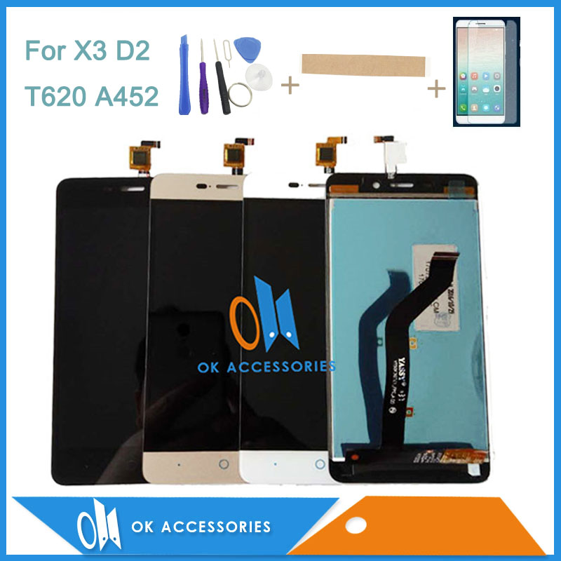 5.0 Inch For ZTE Blade X3 D2 T620 A452 LCD Display Touch Screen Digitizer Assembly Black White Gold Color With Kit
