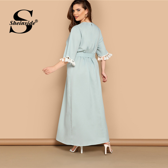 Sheinside Plus Size Elegant Fringe Detail Maxi Dress Women 2019 Summer Solid Belted Straight Dresses Ladies Half Sleeve Dress 1