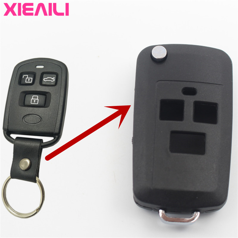 New Fashion Xieaili 10pcs 3button Modified Flip Folding Remote Key Case Shell For Hyundai Sonata Key Fob Case S72 High Resilience Auto Replacement Parts