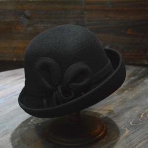 Image 5 - 女性の秋と冬のパーティーフォーマルな帽子イングランドファッション Elengant 不規則な 100% ウールフェルト帽子