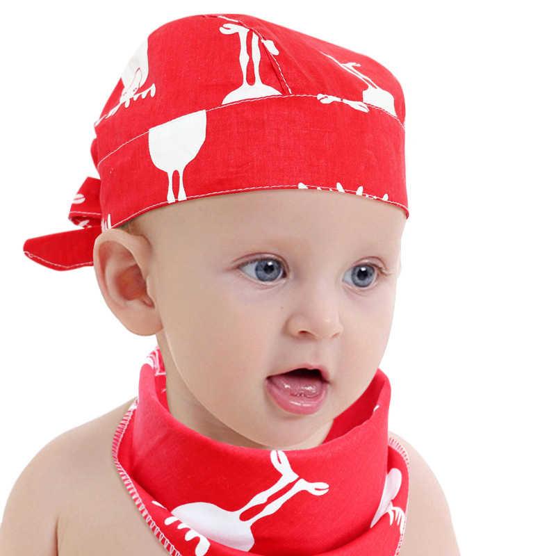 cbdf97547 Baby Boys Girls Hat Summer Print Cotton Thin Newborn Infant Head Pirate Cap  2Pcs Set With Collar Scarf Beanie Hats For 0-2T