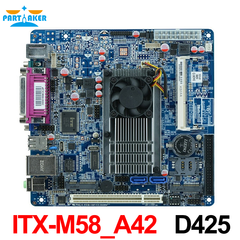 Mini ITX embedded Motherboard ITX-M58_A42 D425/1.66GHz single core CPU Support VGA LVDS mini itx motherboard adv an tech aimb 212n s6a1e n450 twin 6 fan serial lvds 100% tested perfect quality