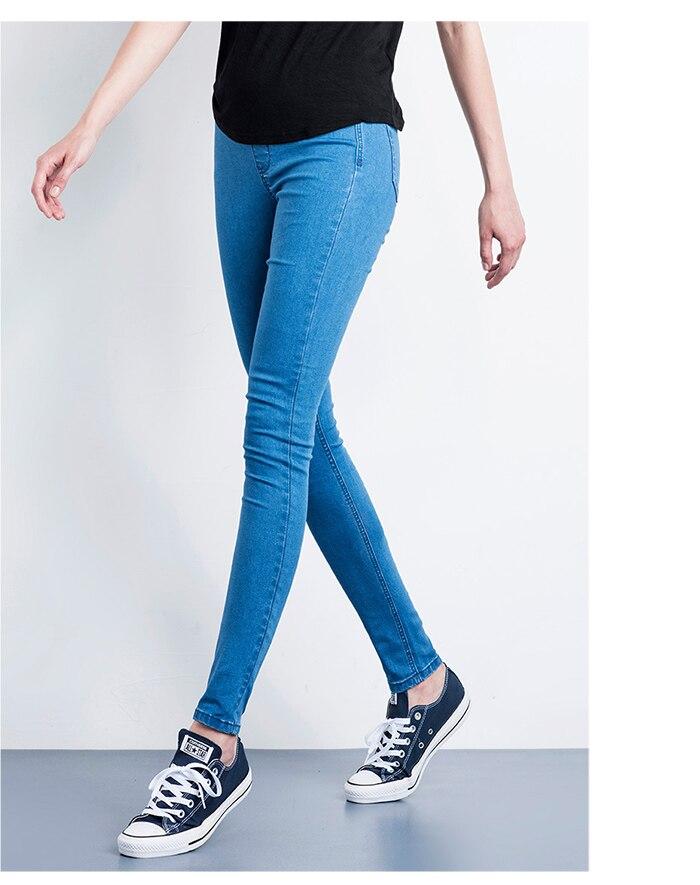 LEIJIJEANS Fashion Autumn Leggings Blue S 6XL Woman Mid Waist Plus Size women High Elastic Full Length Pants Skinny pencil Jeans 8