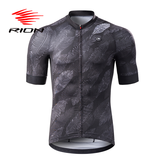 RION Cycling Men MTB Road Mountain Bike Jerseys Short Sleeves Summer Spring Breathable Bicycle Gray Tour Team Uniform DH Tops