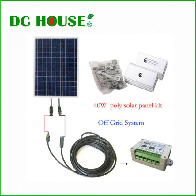 40Watt OFF GRID COMPLETE KIT: Photovoltaic Poly Solar Panel for RV Boat Cabin