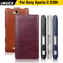 iMUCA Brand For SONY Xperia C 2305 C2305 S39H Vintage PU Leather Case Luxury Flip Phone Cases Cover For sony xperia c 2305
