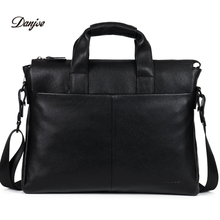 DANJUE Genuine leather men briefcare brand high quality men's business handbags two color real leather soft men laptop bag(China)