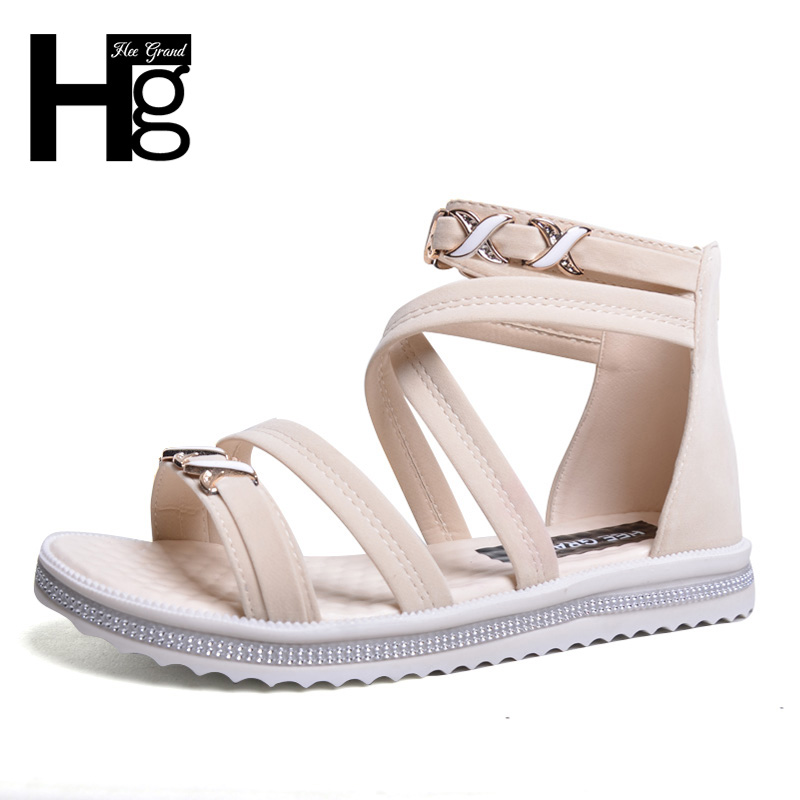 HEE GRAND 2017 Women's Sandals New Summer Zip Bohemia Style Fashion Shoes Woman Size 35-39 XWZ3958 hee grand gladiator sandals summer style 2017 new flat with shoes woman zip casual sexy women shoes ladies size 35 39 xwz1858