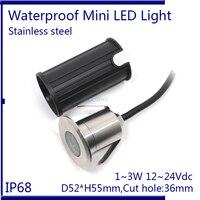 IP68 3 Watt RGB Unterwasserbeleuchtung DC12-24V D52xH55mm Schwimmbad Lampe Farbwechsel, weiß, warmes weiß, blau 3 teile/los
