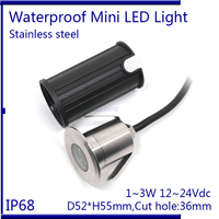 IP68 3W RGB Underwater Light DC12 24V D52xH55mm Swimming Pool Lamp Colour Changing White Warm White