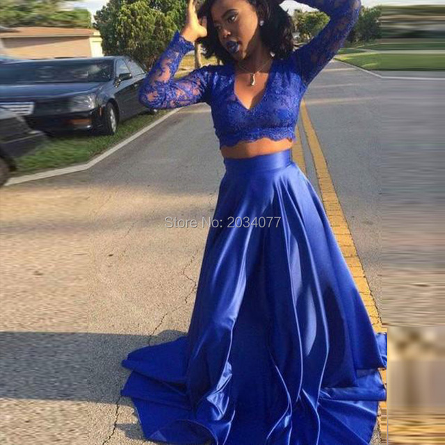 0edcaa78bbb 2017 New Royal Blue Long Sleeve 2 Piece Prom-Dresses-Cheap Lace Satin V-Neck  Paty Gown Fast Shipping Dress For Graduation