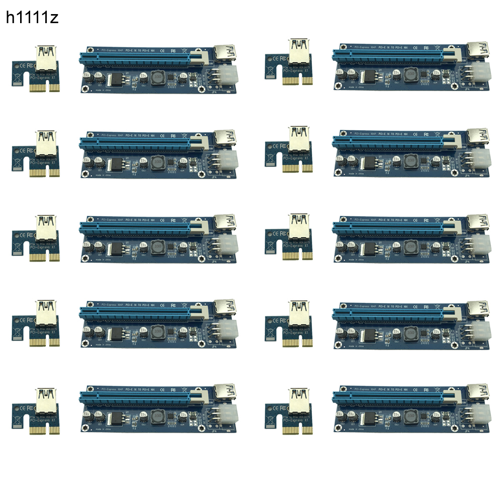 10pcs/lot Upgraded PCI-E 1X to 16X Express Riser Card PCI Extender 60cm USB3.0 Cable 6 Pins SATA Power for Bitcoin Miner