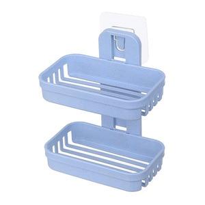 Image 2 - 1 個ソープディッシュトレイ二層石鹸ホルダー排水吸引カップソープボックス浴室ホームソープディッシュ二段水浴バスケット