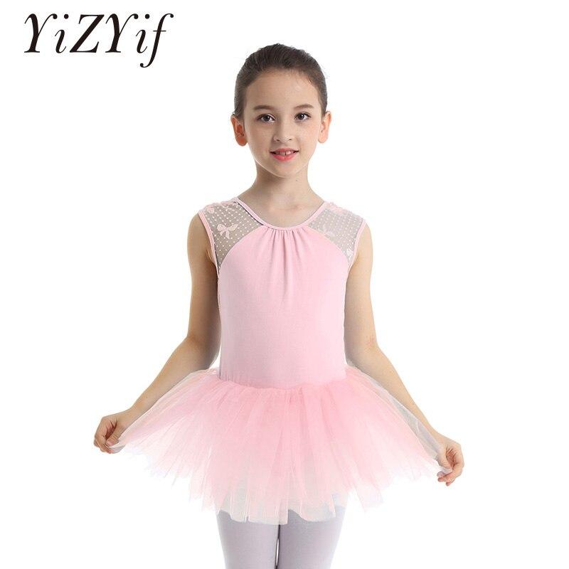 601a02456 YiZYiF niños niñas Ballet tutú vestido sin mangas encaje Empalme en forma  de U Ballet danza ...