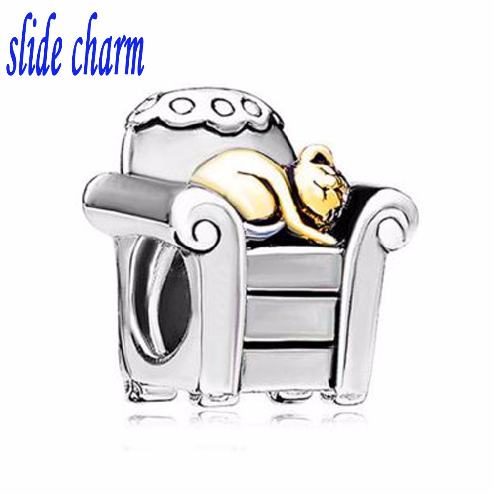 slide charm Free shipping animal gold cat sofa sleeper charm beads fit Pandora bracelet image