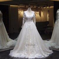 vestidos de novia Modest Wedding Dress 2018 Long Sleeve Appliqued Lace Bride Dresses Zipper Back