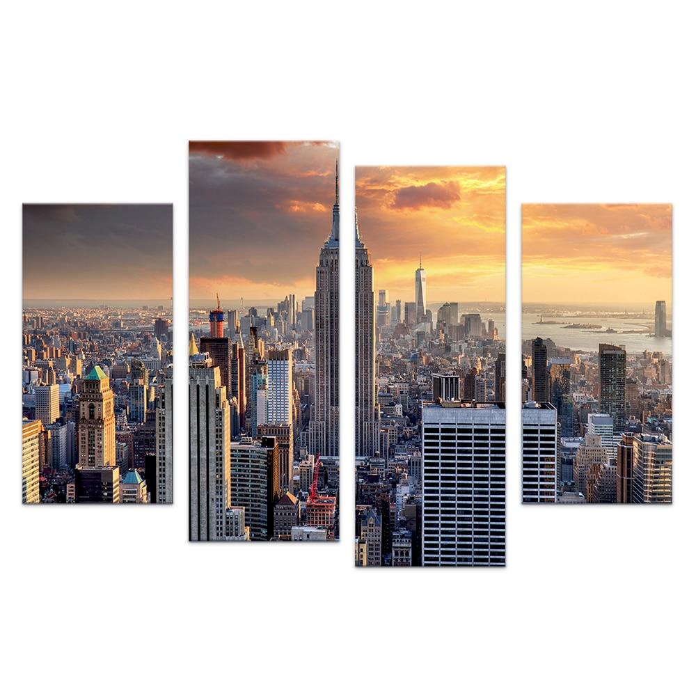 ᐂ4 unidades City View imagen sobre lienzo moderno paisaje urbano ...