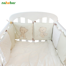 6 Pcs/Pack Baby Bed Bumpers Cotton Toddler Bed Protector Children's Bed Around Soft Cot Crib Bumpers For Infant(China)