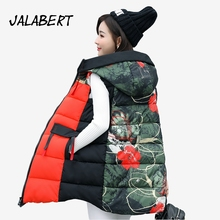 2017 autumn winter new for women zipper cotton vests Female long hooded printing  Big pocket jacket parkas