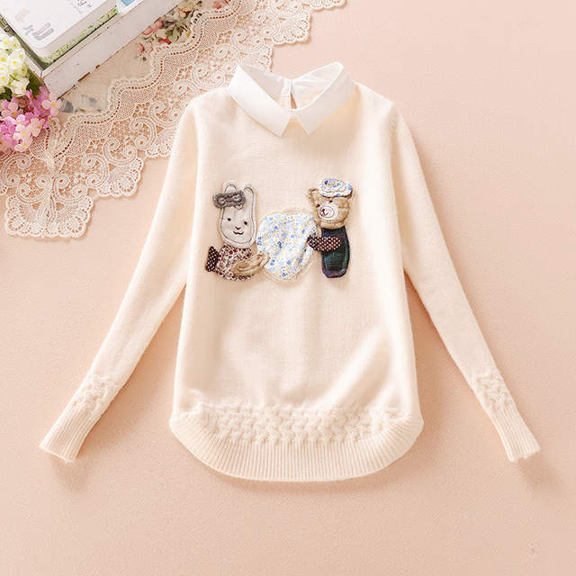 9d40cf9de placeholder Teenage Kids Sweaters For Girls Outerwear Turn-Down Collar  Cartoon Knit Wear Autumn Knitted Bottoming