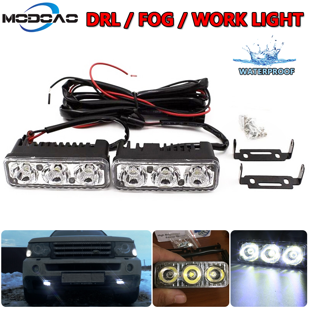 Waterproof Car Lamp High Power DRL Fog Lamps Aluminum LED Daytime Running Lights With Lens DC 12V Super White 6000K
