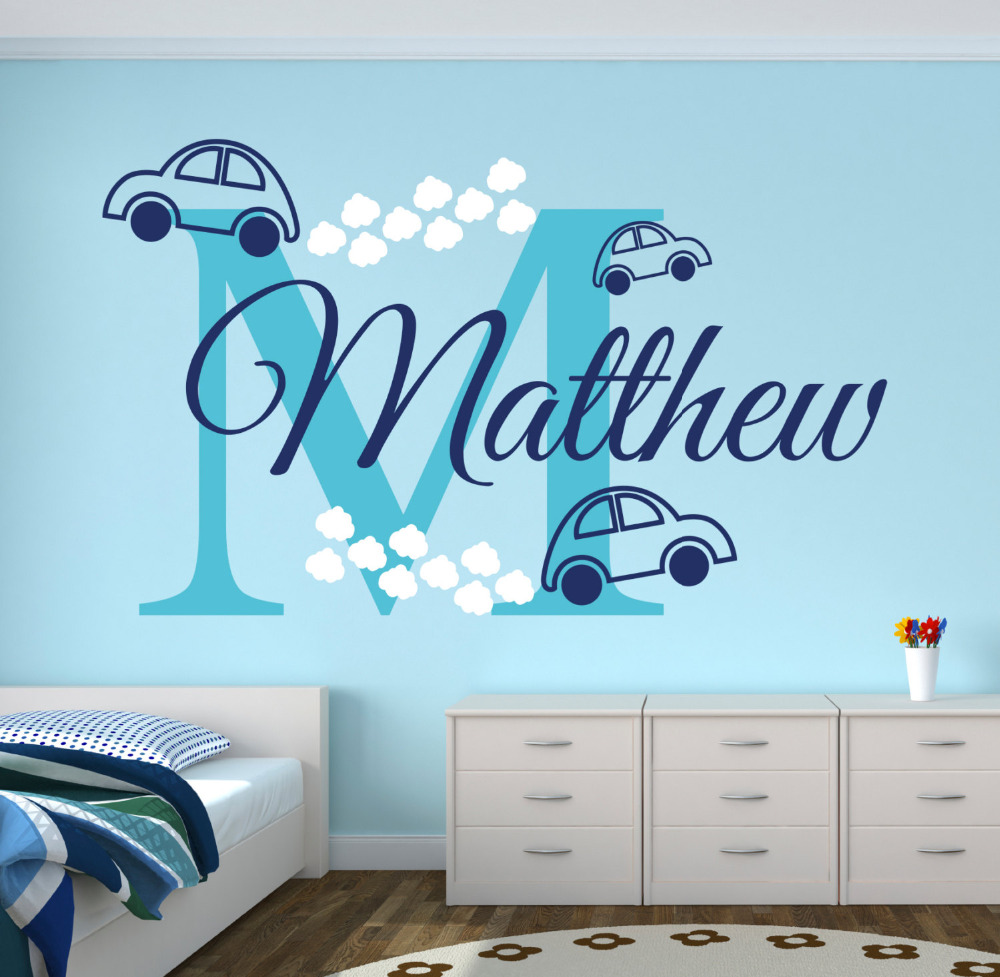 Personalized Name Cars Wall Stickers For Boy's Bedroom