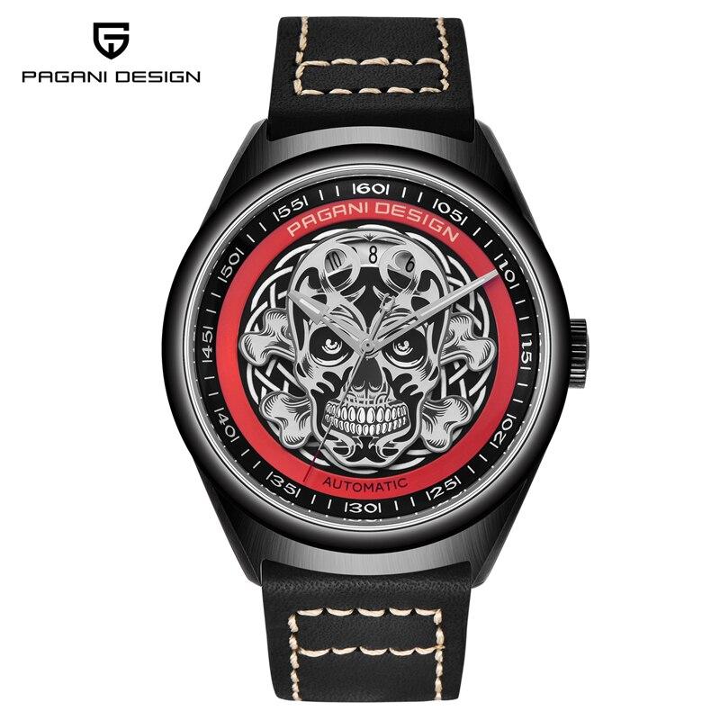 PAGANI DESIGN hommes mode décontracté crâne mécanique automatique montre hommes étanche luxe Top marque robe montre-bracelet noir or