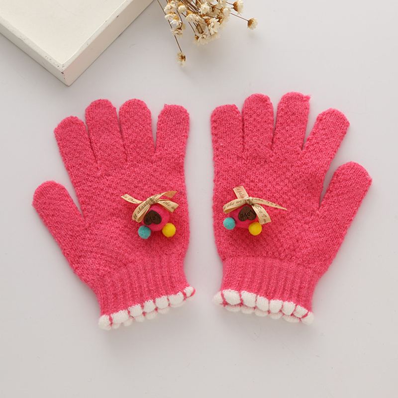 Cute Children Girls Gloves Knitting Pattern Warm Imitation Cashmere