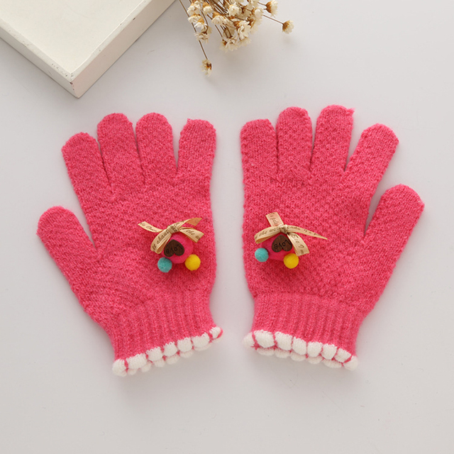 Cute Children Girls Gloves Knitting Pattern Warm Imitation ...