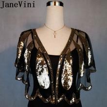 JaneVini Brilhante Beading Casamento Capes Ombros Luxo Ouro Prata Lantejoulas Mulheres Bolero Nupcial Envoltório Bolero de Noiva Cape Mariage vestido de Novia