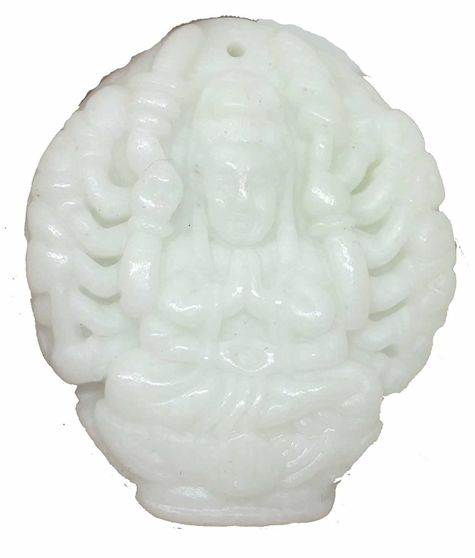 ธรรมชาติ Jadeite มือแกะสลัก Avalokitesvara Amulet จี้สร้อยคอของขวัญเครื่องประดับอัญมณีขายส่ง