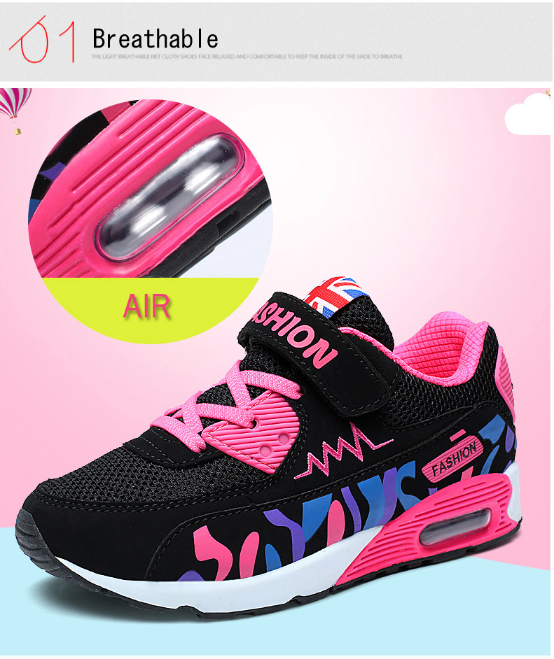 2019 Children Casual Shoes For Girls Running Comfortable Elastic Air Cushion Shoes Fashion Kids Sneakers Breathable Sport Shoes (4)