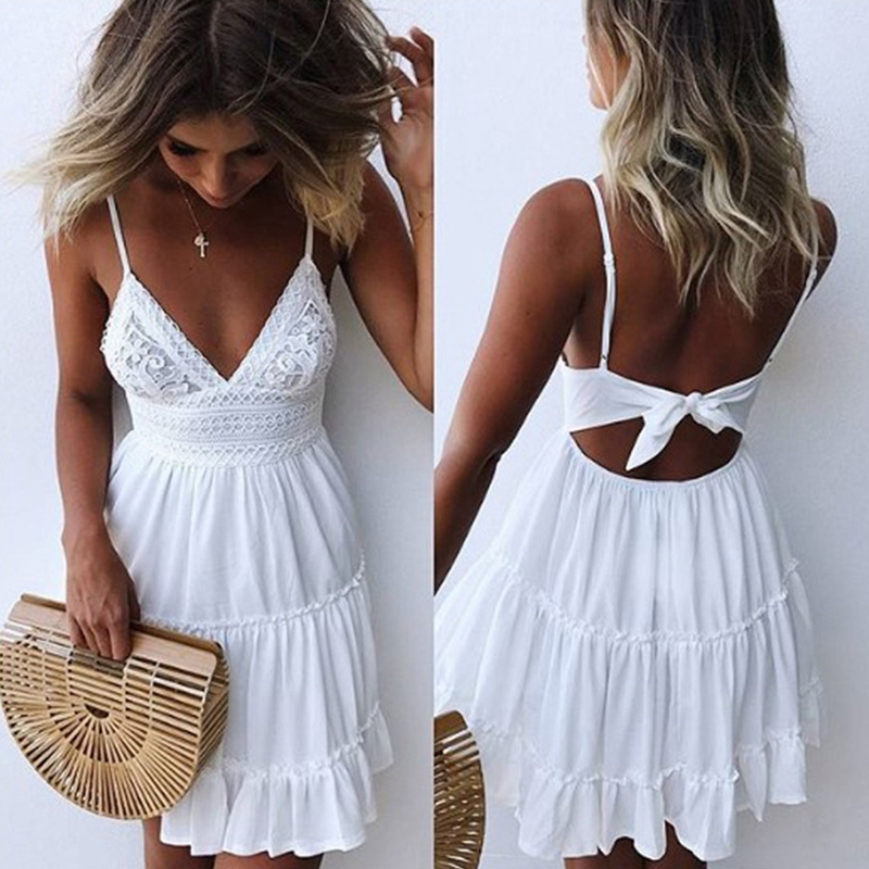 2019 Sexy Lace Beach Dress Ladies Bikini Swimsuit Cover Up Tunics Beach Bathing Suits Swimwear Cover Up Beachwear Saida De Praia(China)