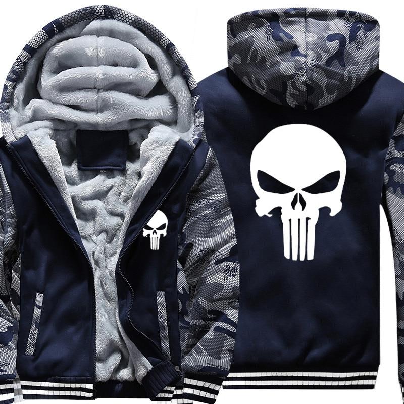 Drop Shipping USA SIZE New The Punisher Printed Men's Hoodies Sweatshirts Warm Men Jackets Casual Zipper Hoodies Winter Coats