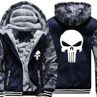 Drop Shipping USA SIZE New The Punisher Printed Men S Hoodies Sweatshirts Warm Men Jackets Casual