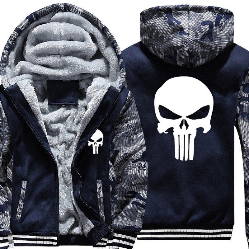 USA FORMATO Nuovo The Punisher Hoodies Caldo Cappotto Maschile Giacche Hoodies Casuali Inverno Uomo Ispessisce Superhero Cerniera Felpe Con Cappuccio