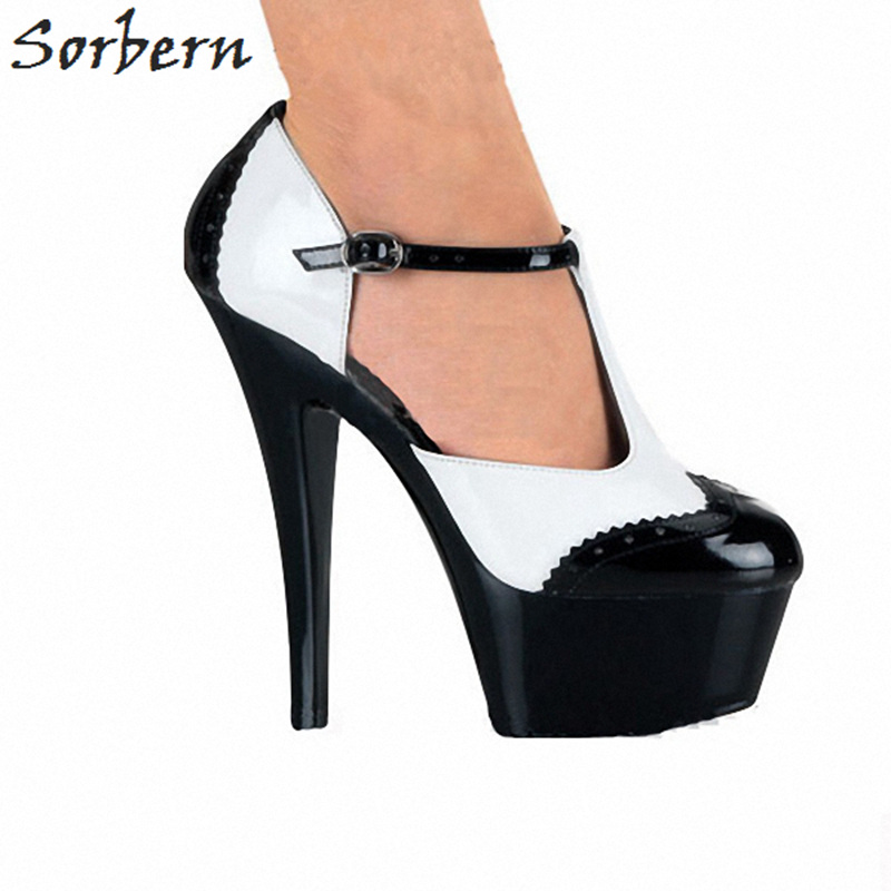 Sorbern Black And White T-Straps Women Pumps Platform Shoes 15Cm/5Cm Spike Heels Sexy Strappy Heels Runway Shoes Pole Dance Pump цена