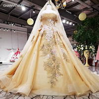 LS63454 1 color flower golden organza party dress off shoulder lace up back evening dress with veil 2018 china online wholesale