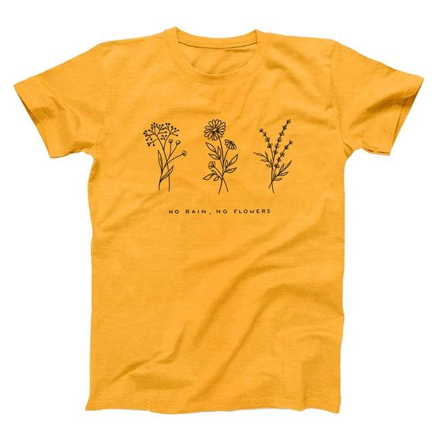 No Rain No Flower Graphic Tees Women Fashion Slogan Sunflower Print Tshirt Hipster Grunge Tumblr Summer T Shirt Drop Shipping