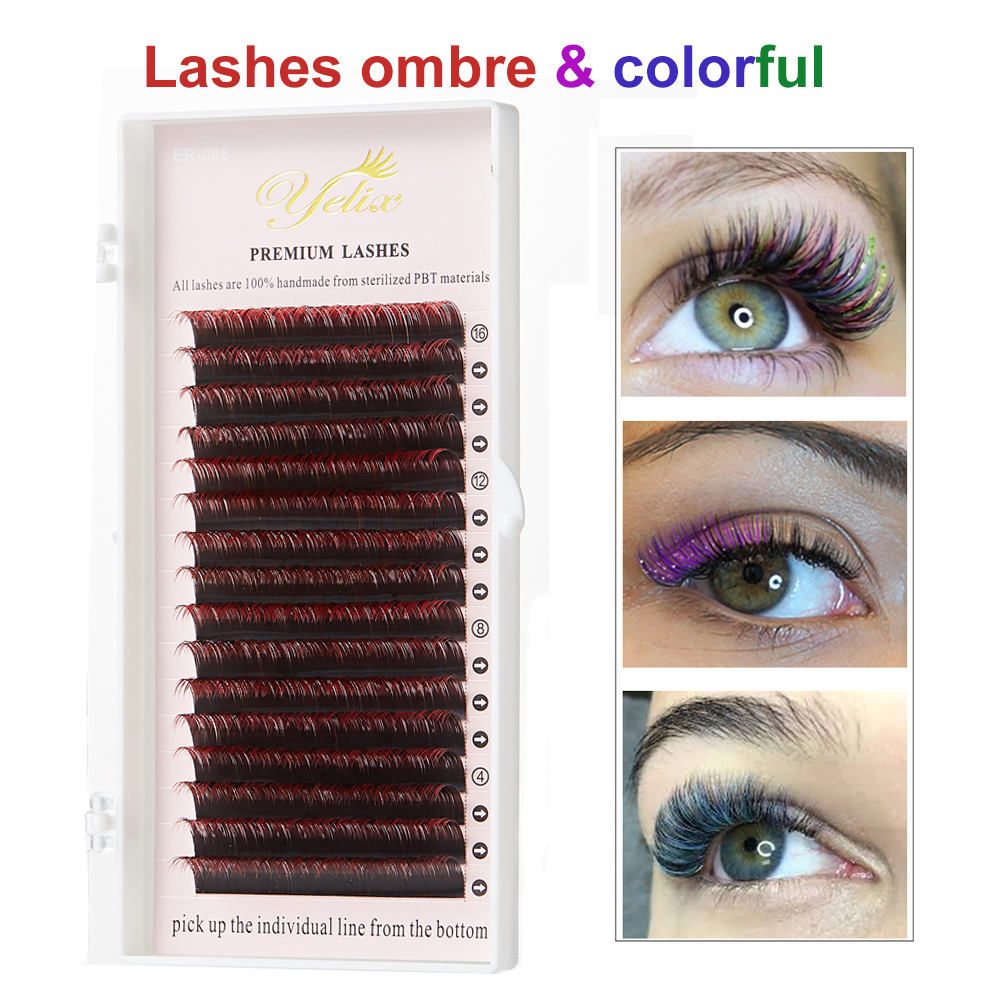 Yelix  Mink Volume Lashes Ombre Silk Fake Eyelash Extension Super Soft Two-tone Individual Eyelashes Gradient Color 0.12mm