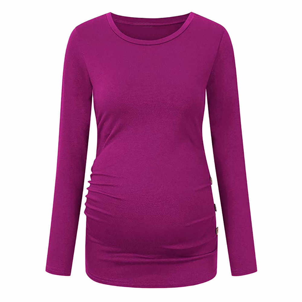 Maternity Shirt Side Button and Ruched Maternity Tops Maternity Long Sleeve  Shirts Enceinte Tops For Pregnant 8e7a163e25e2