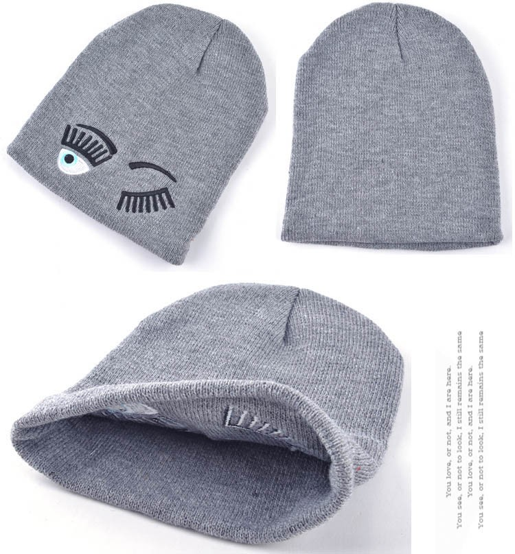 2017 new winter hats for woman striped solid caps girl Knit cap woman eye lashes facial expression beanies gorro 10