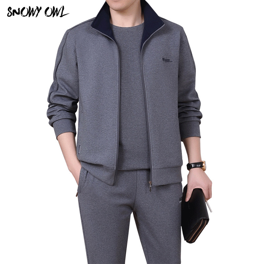 Men 3 pieces Cotton Sportwear Suit Spring fall Men Fitness Comfortable Tracksuit Sport Good Quality Running