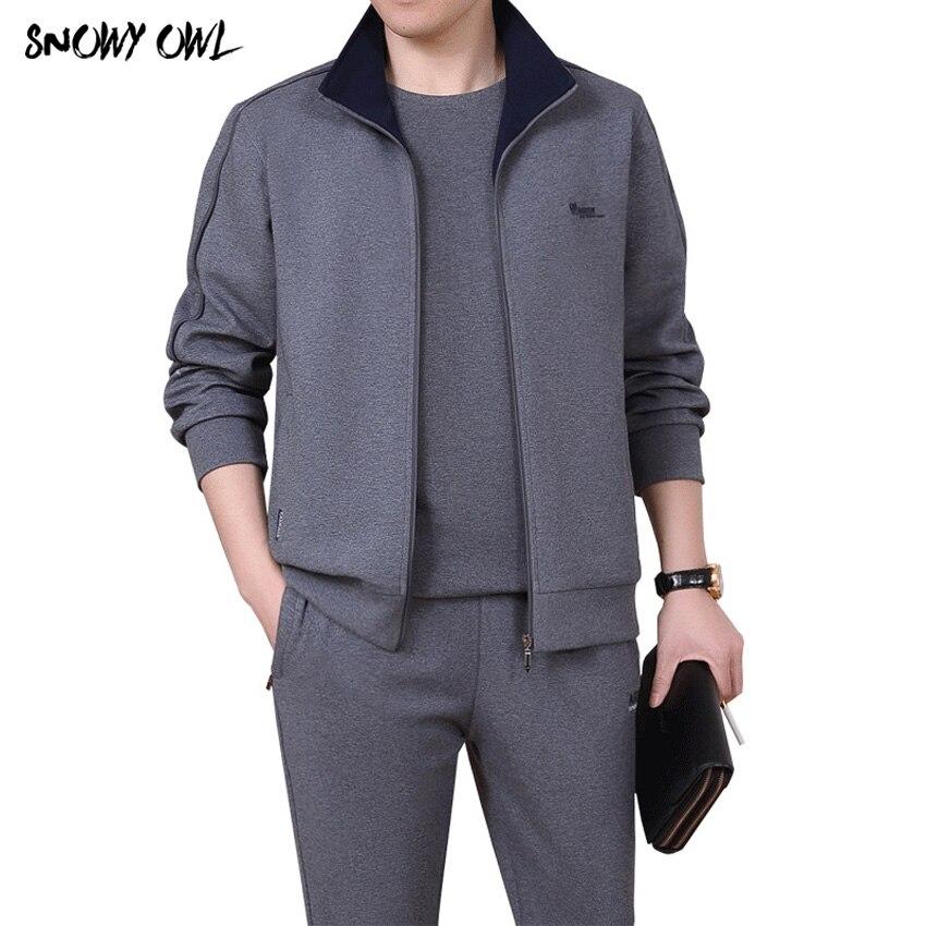 2018 Uomini 3 pezzi Cotone Sportwear Suit Primavera/autunno Uomini di Fitness Confortevole Tuta Set di Sport Da Corsa di Buona Qualità L-5XL h185