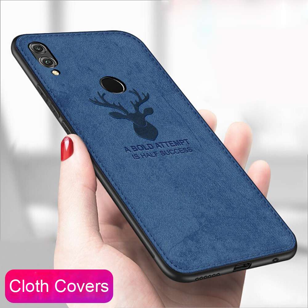 For HUAWEI Honor 8X 8C 8A Case Cover TPU Silicone Bumper Soft DEER Cloth Fabric Cover For Huawei honor 7X 7C 6C 7A Pro cases in Fitted Cases from Cellphones Telecommunications