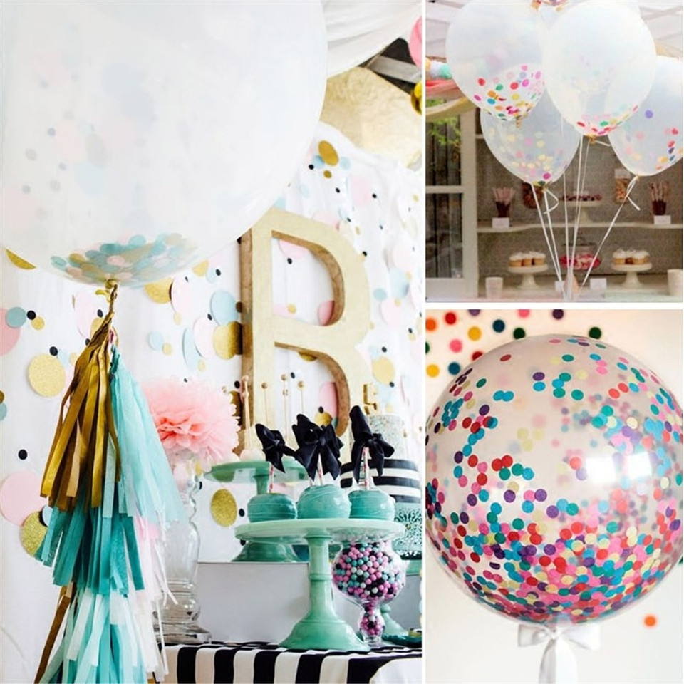 1pc 36 Inch Confetti Balloons Giant Clear Balloons Party