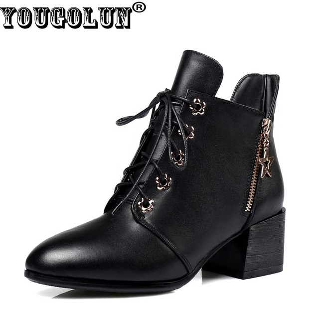 YOUGOLUN - 2017 New Winter Women Genuine Cow Leather Ankle Boots Black Cross-tied Square Mid Heel #Y-133